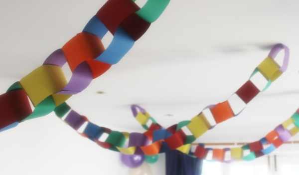 brightly colour paper chains