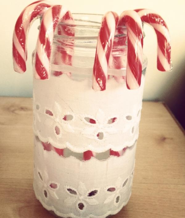 Candy cane lace jar