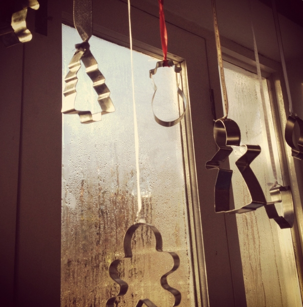 cookie cuttern hung by ribbon in a window