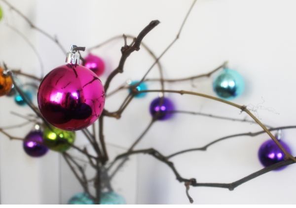 detail of bauble twig tree