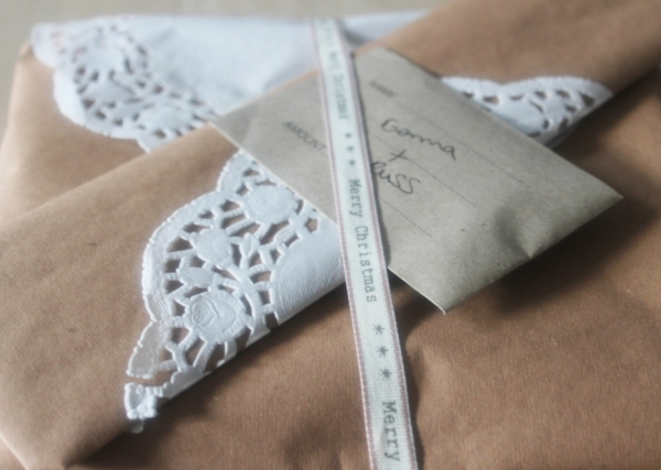 Doily and ribbon Christmas wrapping