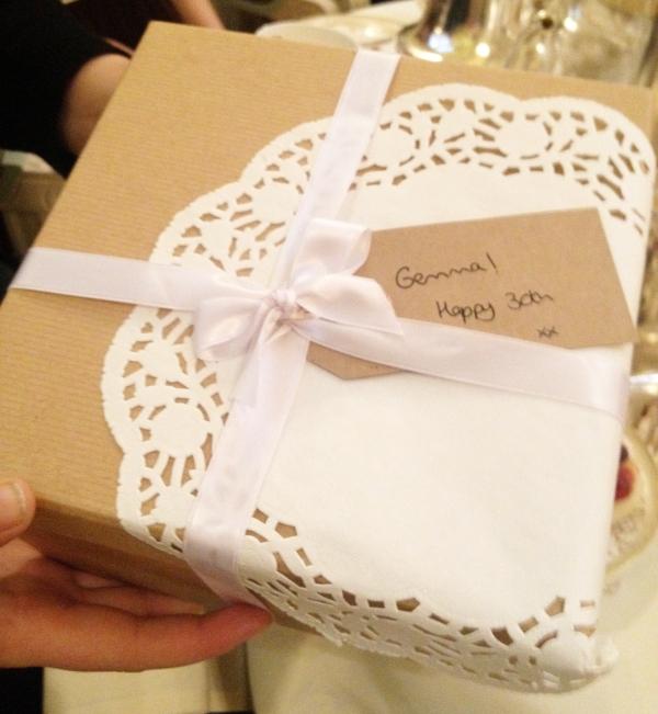 Gemma birthday box doily wrapped