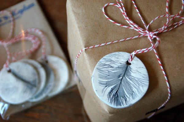 Ceramic leaf and feather tag
