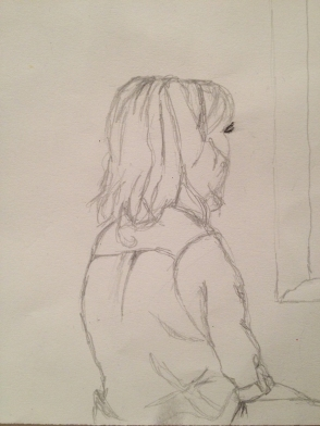 girl looking out the window drawing