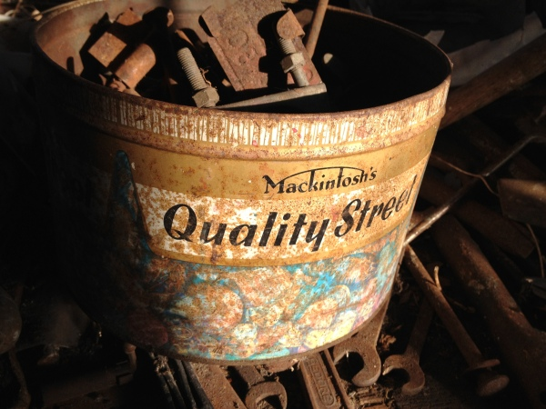 Vintage Quality Street tin with tools