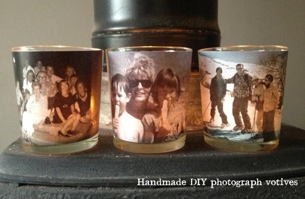 handmade DIY family photograph votives