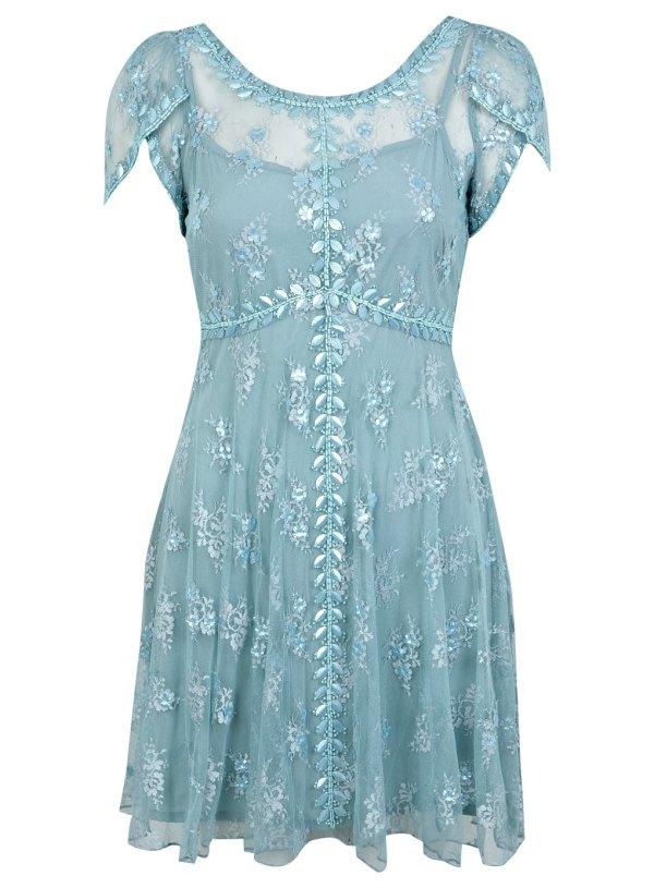 Blue beaded tea dress