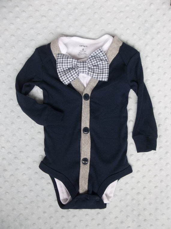 Baby Boy Cardigan Bowtie Onesie for a Preppy Baby Boy