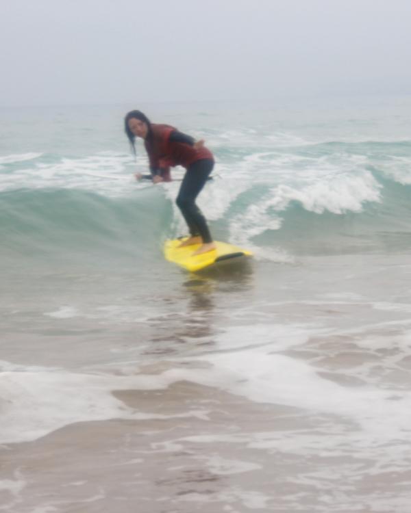 Joanne surfing